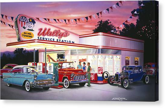 1932 Ford Canvas Print - Wallys Service Station by Bruce Kaiser