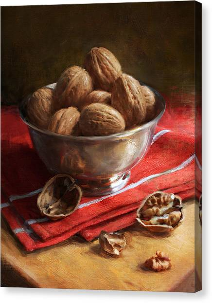 Walnuts On Red Canvas Print