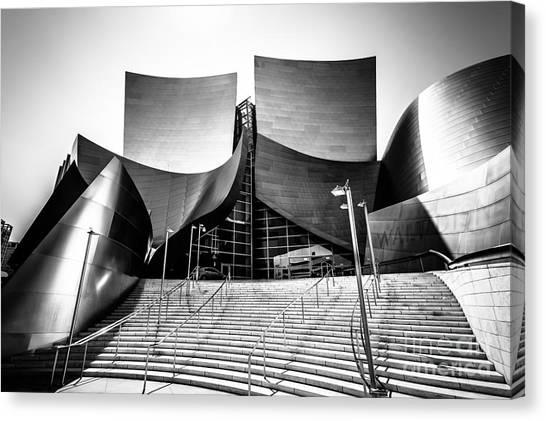 American Steel Canvas Print - Walt Disney Concert Hall In Black And White by Paul Velgos