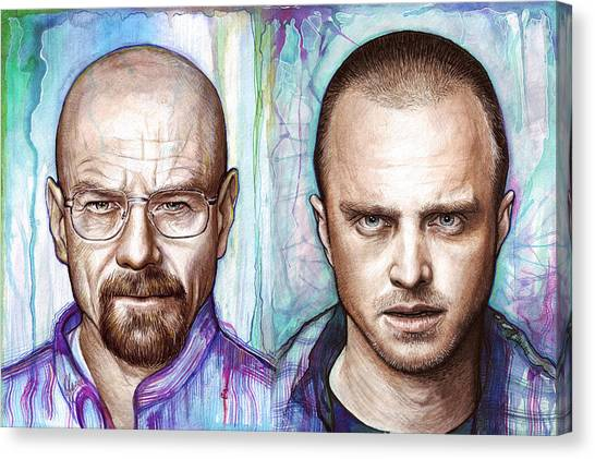 Tv Shows Canvas Print - Walter And Jesse - Breaking Bad by Olga Shvartsur