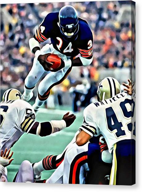 Running Backs Canvas Print - Walter Payton by Florian Rodarte