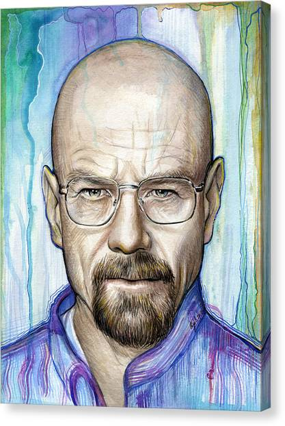 Mixed-media Canvas Print - Walter White - Breaking Bad by Olga Shvartsur