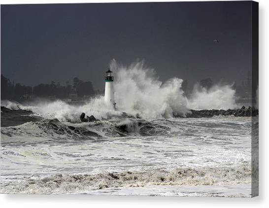 Walton Lighthouse Takes A Beating Canvas Print