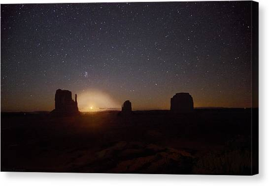 Waning Crescent Moonrise Monument Valley Canvas Print