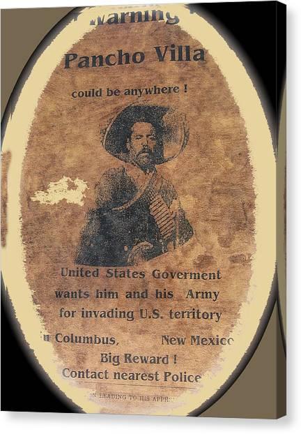 Wanted Poster For Pancho Villa After Columbus New Mexico Raid  Canvas Print