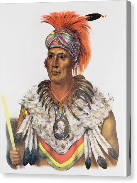 Bear Claws Canvas Print - Wapella Or The Prince Chief Of The Foxes, 1837, Illustration From The Indian Tribes Of North by Charles Bird King