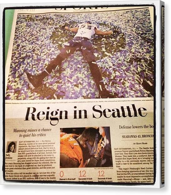 Seattle Seahawks Canvas Print - #wapo Sports Page. Clever Enough Title by Rads Kowthas
