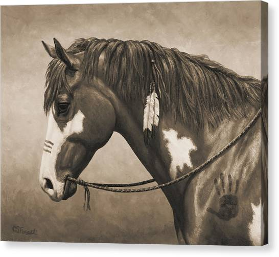 War Horse Canvas Print - War Horse Aged Photo Fx by Crista Forest
