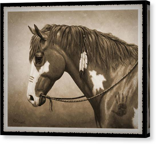 War Horse Canvas Print - War Horse Old Photo Fx by Crista Forest