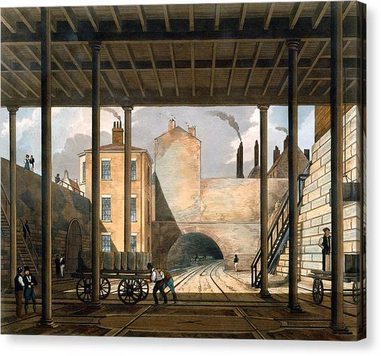 Train Canvas Print - Warehouses Etc At The End Of The Tunnel by Thomas Talbot Bury