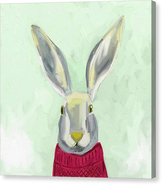 Head Canvas Print - Warm Bunny by Cathy Walters