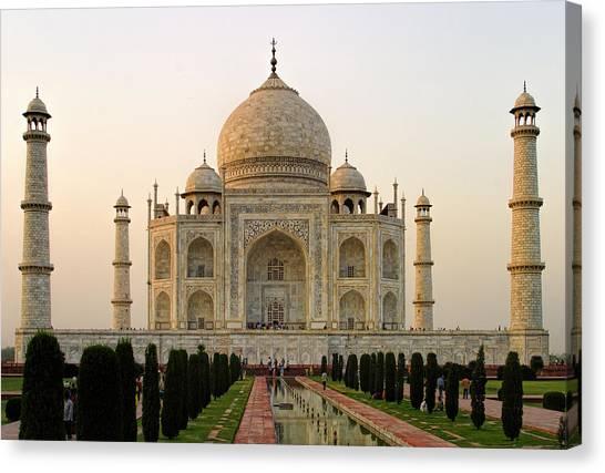 Warm Evening View Taj Mahal Canvas Print