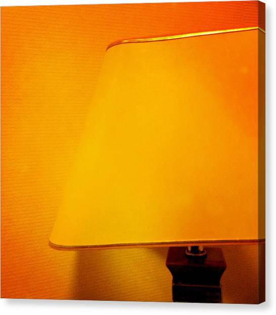 Orange Canvas Print - Warm Inside - Lamp With Warm Orange Light by Matthias Hauser