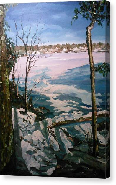 Canvas Print featuring the painting Warm Snow In The Sassaquin Pond-neighborhood by Ray Khalife