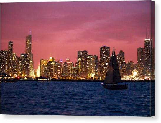 Warm Summer Night Chicago Style Canvas Print