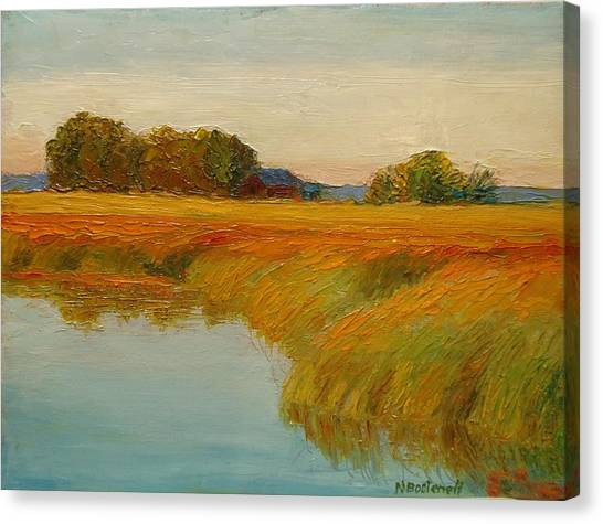 Warm Sunset On The Bog Canvas Print by Nicolas Bouteneff