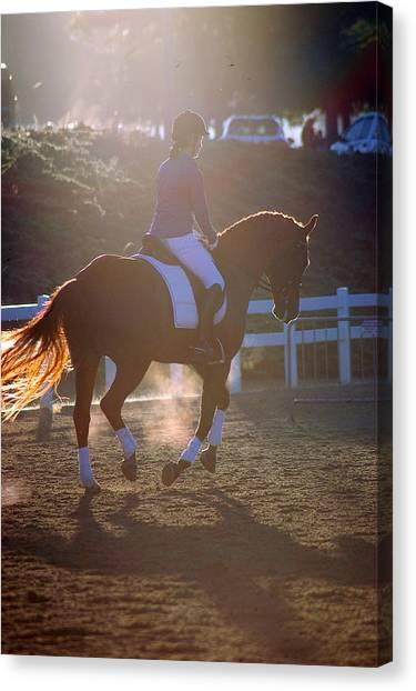 Hanovarian Dressage Horse Canvas Print - Warm Up by Kelly Wright