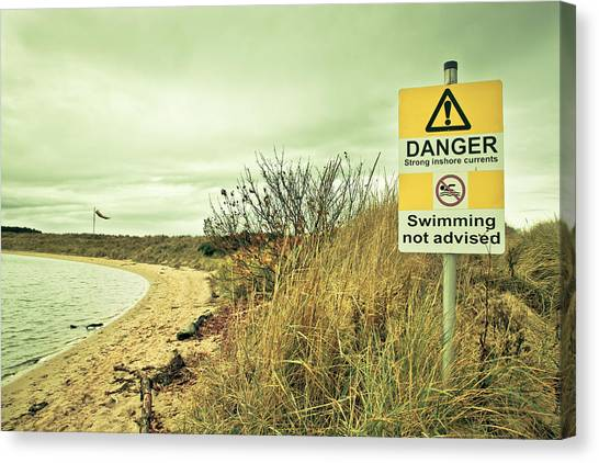 Seagrass Canvas Print - Warning Sign by Tom Gowanlock