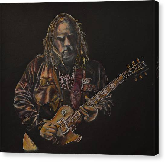 The Allman Brothers Canvas Print - Warren Haynes by Breyhs Swan