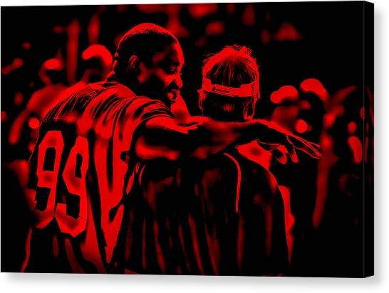 Troy University Troy Canvas Print - Warren Sapp And Jon Gruden by Brian Reaves