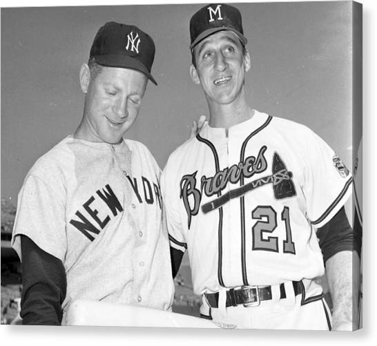 New York Mets Canvas Print - Warren Spahn With Whitey Ford by Retro Images Archive