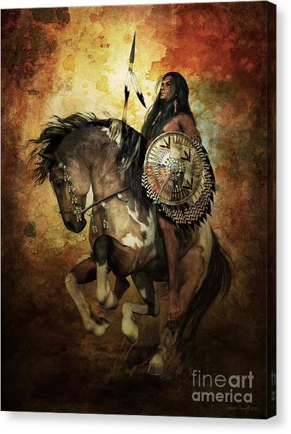 Native Americans Canvas Print - Warrior by Shanina Conway