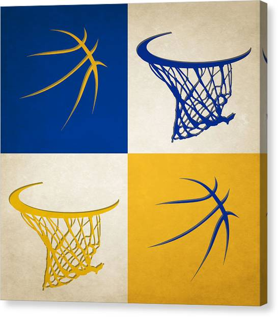Basketball Teams Canvas Print - Warriors Ball And Hoop by Joe Hamilton