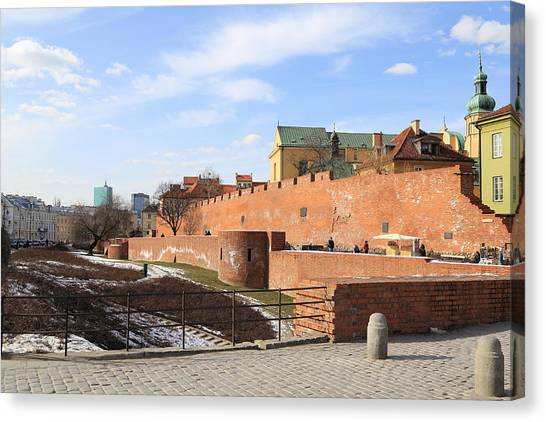Warsaw Old Town Wall And Castle Canvas Print by Pejft