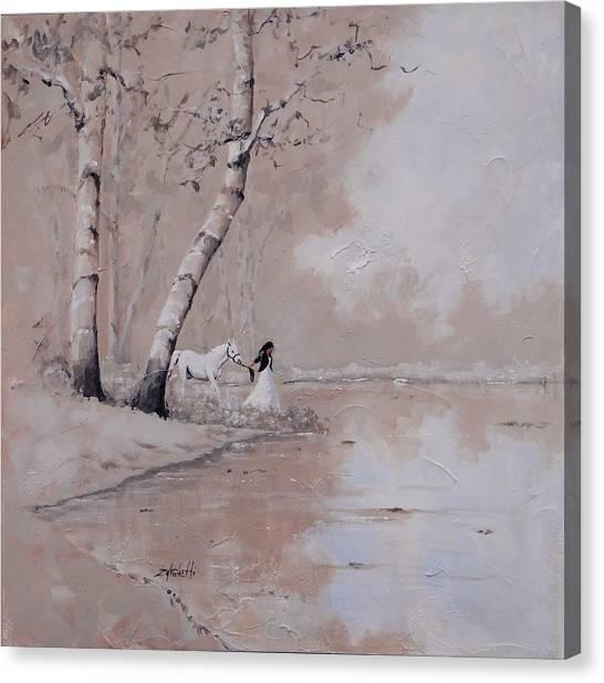 Bareback Canvas Print - Was It A Dream by Laura Lee Zanghetti