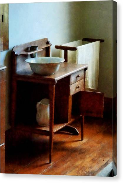 Wash Basin And Towel Canvas Print