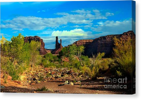Sandy Desert Canvas Print - Wash Valley Of The Gods by Robert Bales
