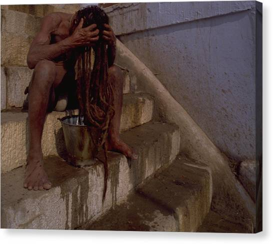 Travelpics Canvas Print - Varanasi Hair Wash by Travel Pics