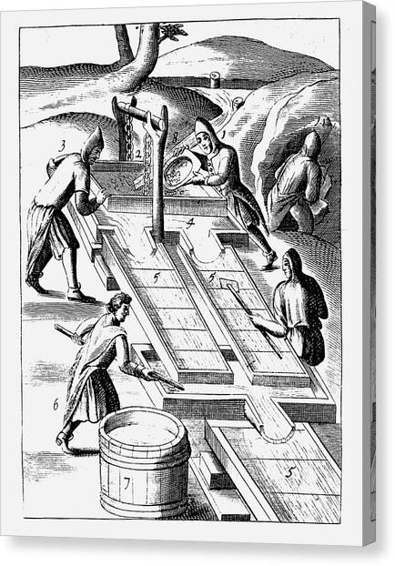 Ore Canvas Print - Washing Ore To Extract Gold by Universal History Archive/uig