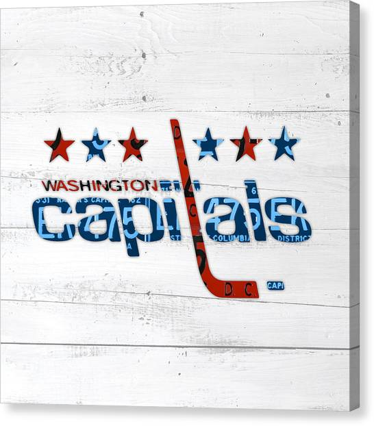 Hockey Teams Canvas Print - Washington Capitals Retro Hockey Team Logo Recycled District Of Columbia License Plate Art by Design Turnpike