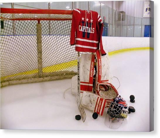 Glove Canvas Print - Washington Capitals Winter Classic 2015 Goalie Jersey by Lisa Wooten