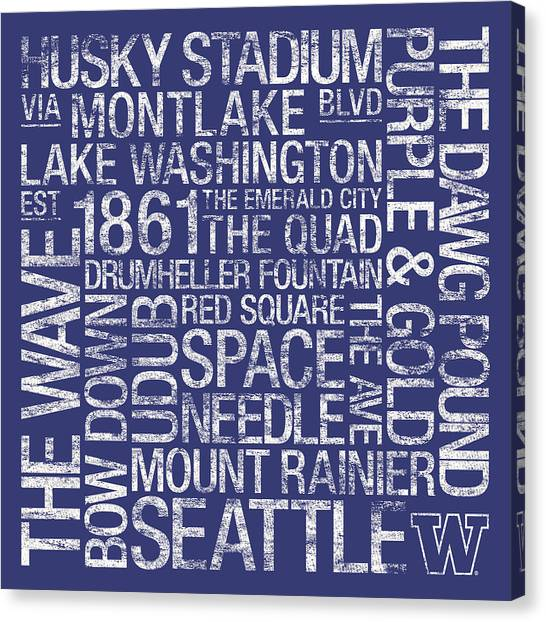 Huskies Canvas Print - Washington College Colors Subway Art by Replay Photos
