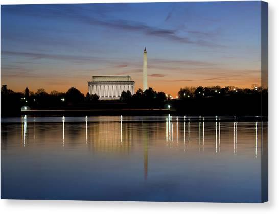 Lincoln Memorial Canvas Print - Washington Dc - Lincoln Memorial And Washington Monument by Brendan Reals