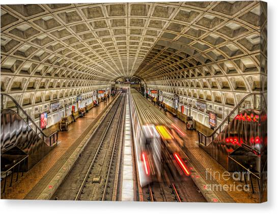 Light Rail Canvas Print - Washington Dc Metro Station Xi by Clarence Holmes