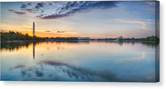 Washington Monument Canvas Print - Washington Dc Panorama by Sebastian Musial