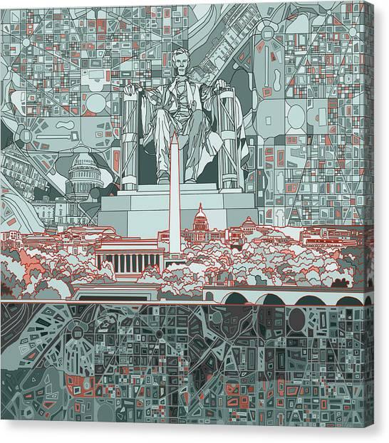 Lincoln Memorial Canvas Print - Washington Dc Skyline Abstract by Bekim Art