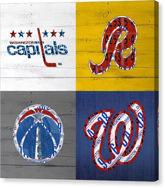 Washington Nationals Canvas Print - Washington Dc Sports Fan Recycled Vintage License Plate Art Capitals Redskins Wizards Nationals by Design Turnpike