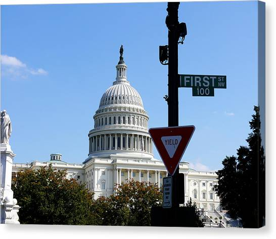Obamacare Canvas Print - Washington Dc - Who Will Yield First? by Richard Reeve