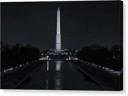Washington Monument Canvas Print - Washington Monument At Night by Joan Carroll