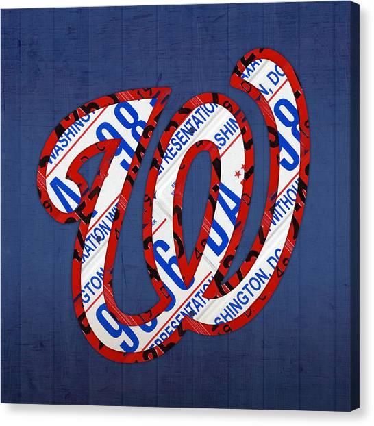 Washington Nationals Canvas Print - Washington Nationals Vintage Baseball Logo License Plate Art by Design Turnpike