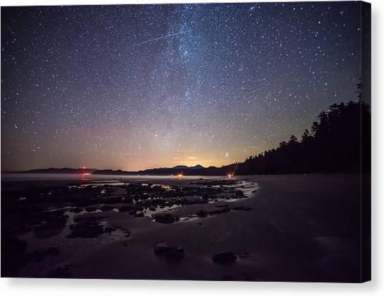Washington Olympic Night Sky Meteor Canvas Print