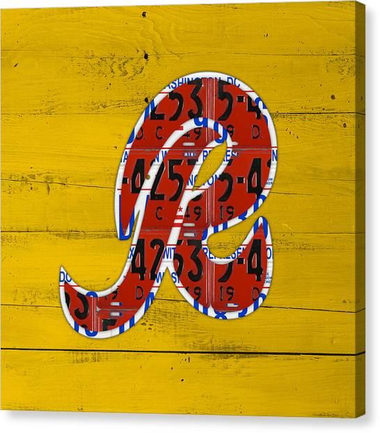Washington Redskins Canvas Print - Washington Redskins Football Team Retro Logo Recycled District Of Columbia License Plate Art by Design Turnpike