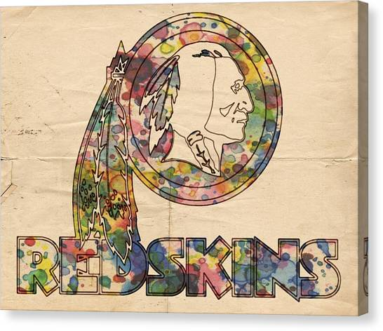 Washington Redskins Canvas Print - Washington Redskins Logo Art by Florian Rodarte