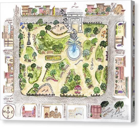 Washington Square Park Map Canvas Print