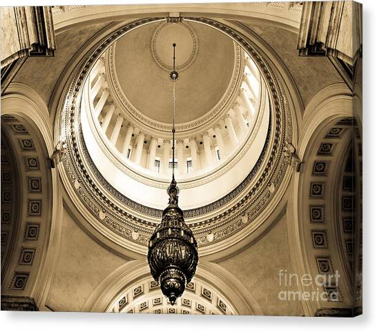 Canvas Print featuring the photograph Washington State Capitol Building Rotunda Sepia by Merle Junk