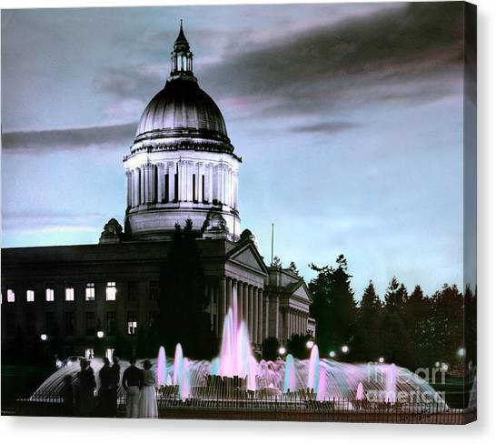 Canvas Print featuring the photograph Washington State Capitol Tivoli Fountain 1950 by Merle Junk